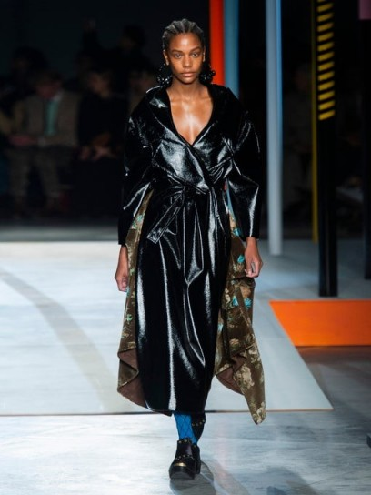 PREEN BY THORNTON BREGAZZI Ensley oversized black PVC trench coat