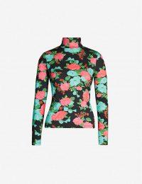 ERDEM Kelly turtleneck floral-print stretch-cotton top black multi / high neck tops