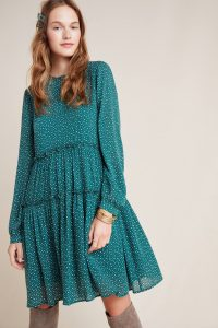 ANTHROPOLOGIE Esther Tiered Tunic Green Motif