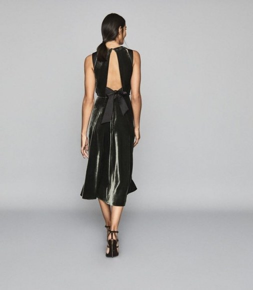 REISS EUDORA VELVET TIE-BACK MIDI DRESS CHARCOAL ~ luxe open back dresses ~ event fit and flare - flipped