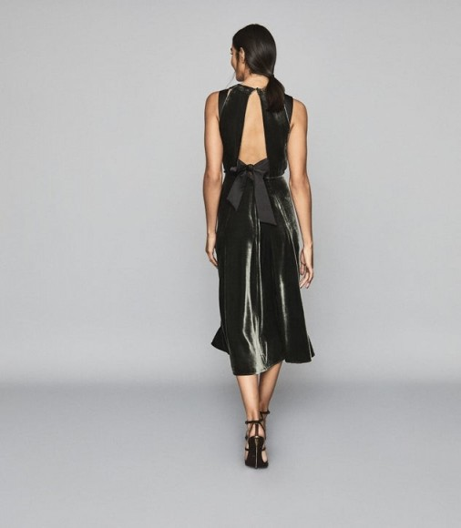 REISS EUDORA VELVET TIE-BACK MIDI DRESS CHARCOAL ~ luxe open back dresses ~ event fit and flare
