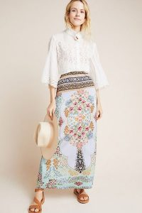 Farm Rio Floral Maxi Skirt in Sky / long pale-blue skirts