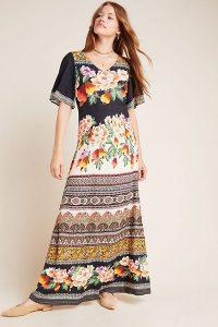 Farm Rio for Anthropologie Esmeralda Floral Maxi Dress Black Motif / mixed print dresses