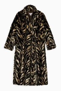 TOPSHOP Faux Fur Tiger Print Coat / winter style statement coats / glamour