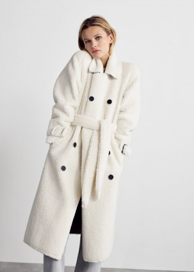 Mango Faux shearling long coat in ecru REF. 53067015-FUZZY-LM | neutral chunky winter coats