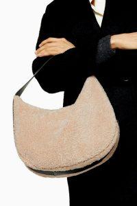 TOPSHOP FELIX Cream Borg Shoulder Bag / fluffy bags