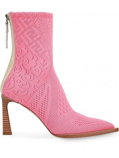 FENDI Pink mesh FF logo booties