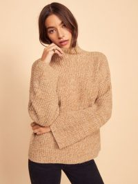 REFORMATION Fern Sweater in Camel Marled | mock neck drop shoulder jumper