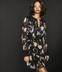 REISS FINN FLORAL-PRINT CRINKLED SHEER DRESS BLACK