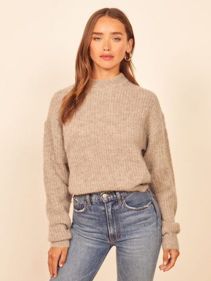 Reformation Finn Sweater in Oatmeal | drop shoulder jumpers