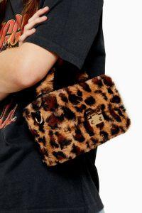 TOPSHOP FIZZ Leopard Faux Fur Box Grab Bag. SMALL FLUFFY BOX BAGS