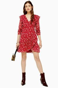 TOPSHOP Floral Dobby Ruffle Mini Dress in Red / frill trimmed wrap dresses