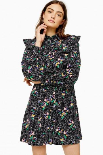 TOPSHOP Floral Print Yoke Mini Dress / ruffled dresses