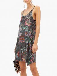 PACO RABANNE Floral-print chainmail mesh mini dress in black