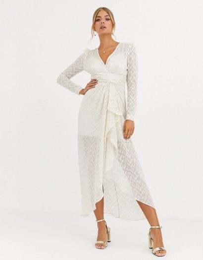 Forever New metallic ruffle dress in cream