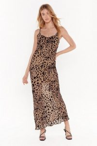 NASTY GAL Forever Young Leopard Maxi Dress in Brown