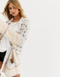 Free People fair weather patterned cardigan in neutral combo | soft and slouchy longline cardigans