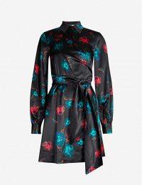 GANNI Floral-print A-line silk-satin mini dress in black / high neck waist tie dresses