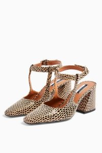 TOPSHOP GARCIA Leather Animal Print Block Heels / chunky heeled ankle strap shoes