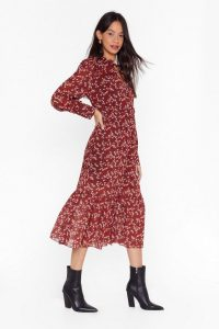 NASTY GAL Garden Party Floral Midi Dress in Red / tiered hem dresses / prairie style fashion