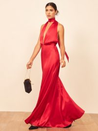 Reformation Gauche Dress in Cherry | glamorous red style statement gown