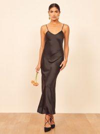 Reformation Genevieve Dress in Black | slinky silk LBD