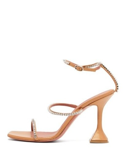 AMINA MUADDI Gilda crystal-embellished leather sandals in orange-pink - flipped