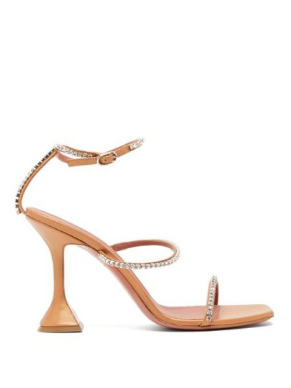 AMINA MUADDI Gilda crystal-embellished leather sandals in orange-pink