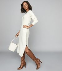 REISS GINA RIBBED-KNIT MIDI DRESS WHITE ~ chic knitwear ~ effortless style clothing