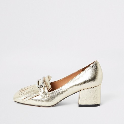 RIVER ISLAND Gold heeled snaffle tassel loafer / metallic loafers