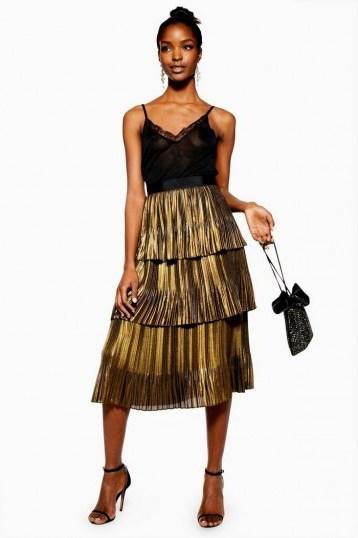 TOPSHOP Gold Metallic Tiered Midi Skirt – party fashion - flipped