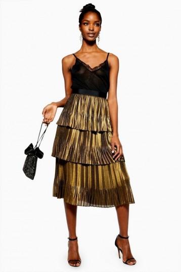 TOPSHOP Gold Metallic Tiered Midi Skirt – party fashion