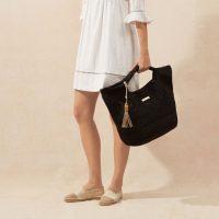 heidi klein Grace Bay Large Raffia Bucket Bag in Black – poolside bags – beach accessories