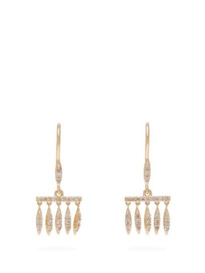 ILEANA MAKRI Grass Dewdrops diamond & 18kt gold earrings / small luxe fringed drops