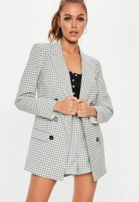MISSGUIDED grey checked co ord blazer ~ double breasted check print jacket