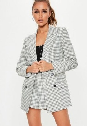 MISSGUIDED grey checked co ord blazer ~ double breasted check print jacket - flipped