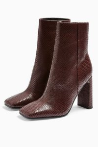TOPSHOP HALIA Burgundy Lizard Square Toe Boots