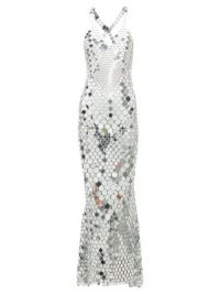 PACO RABANNE Halterneck chainmail maxi dress in silver ~ vintage style evening glamour