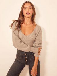 Reformation Hart Sweater in Oatmeal | full sleeved V-neck jumper