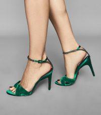 HAYDEN VELVET TWIST FRONT SANDALS EMERALD ~ green luxe style heels