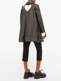 COMME DES GARÇONS GIRL Heart cut-out faux-leather coat in black