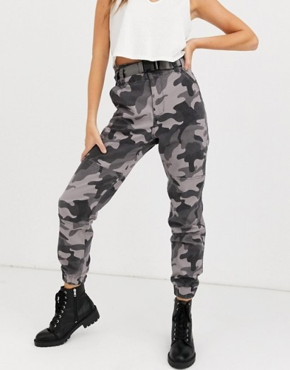 Hollister structured utility jogger in camo in grey
