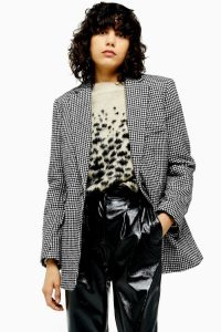 TOPSHOP Houndstooth Single Breasted Blazer in Monochrome