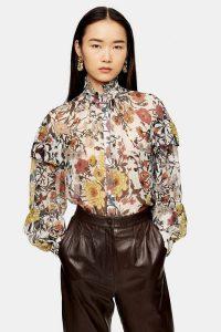 TOPSHOP IDOL Double Ruffle Floral Print Blouse / autumn prints