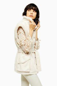 TOPSHOP IDOL Ecru Borg Lined Denim Gilet / Autumn jackets