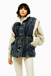 Topshop IDOL Indigo Denim Borg Lined Oversized Gilet in Indigo | sleeveless jacket