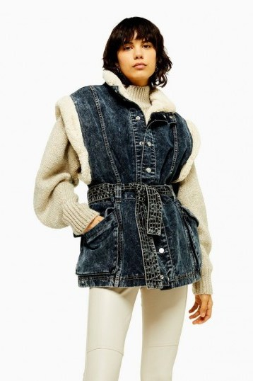 Topshop IDOL Indigo Denim Borg Lined Oversized Gilet in Indigo | sleeveless jacket - flipped
