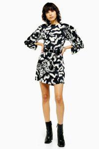 TOPSHOP IDOL Tiger Print Mini Dress in Monochrome / black and white dresses