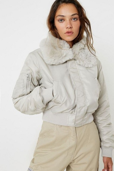 iets frans… Nova Faux Fur Collar Bomber Jacket ~ cropped jackets - flipped