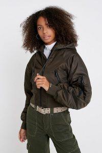 iets frans… Raglan Hooded Bomber Jacket Khaki